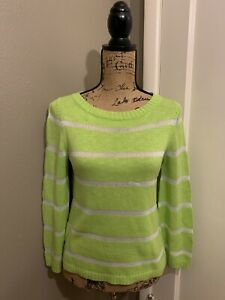 Details about ALICE + OLIVIA Women's Lime Green White Striped Pullover Sweater Size XS