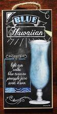 BLUE HAWAIIAN HAWAII COCKTAIL RECIPE TIki Bar Beach Pub Tropical Decor Sign NEW