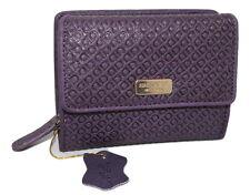 Saddler in pelle in rilievo Tri-Fold borsa portafoglio viola