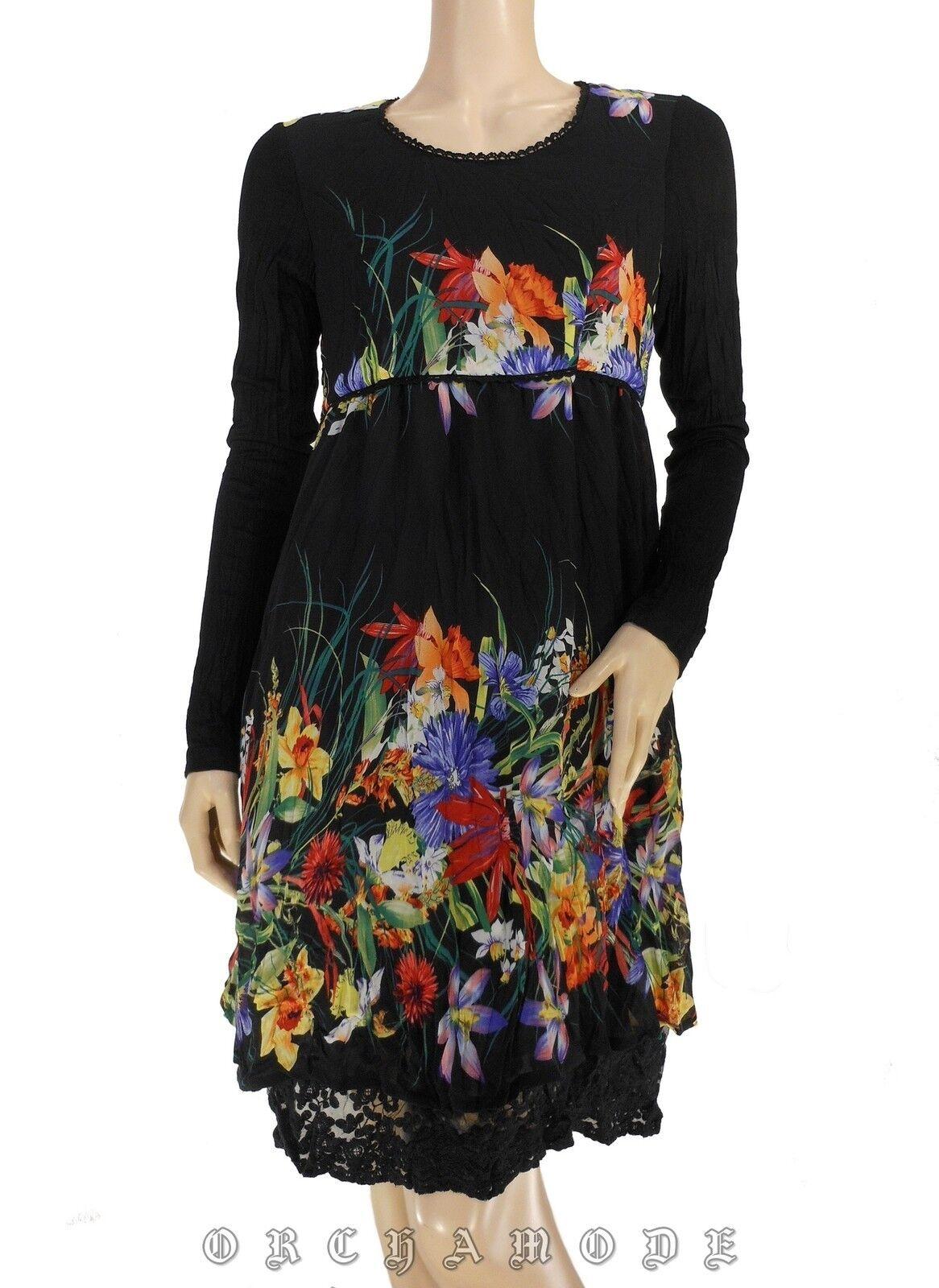 Robe MY DESIGN T 42 XL 4 schwarz + Floral Volant Dentelle Tunique NEUF Dress Kleid