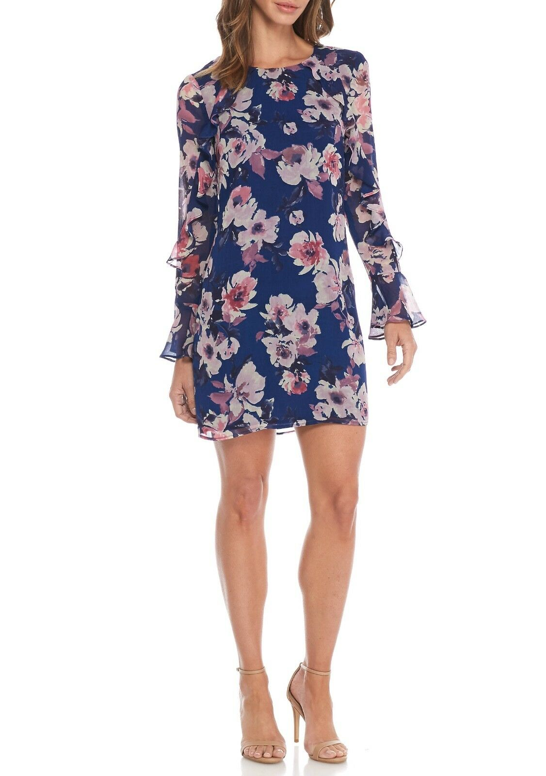 Charles Henry Floral Print Ruffle Bell-Sleeve Shift Dress Navy Sz S
