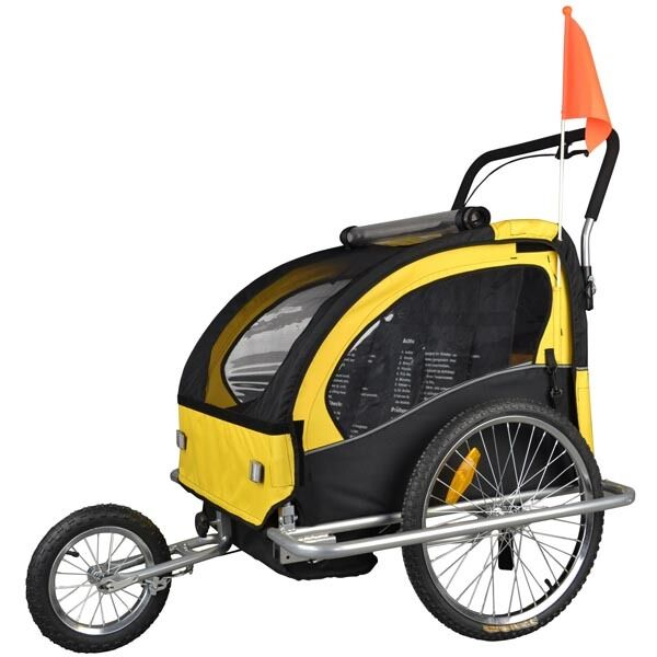 Remorque Vélo Convertible Jogger Remorque à Vélo 2 en 1 Velo, pour 2 enfants