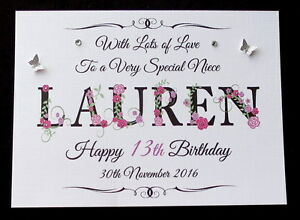 Image Is Loading Personalised Girls Name Birthday Card Daughter Granddaughter Niece