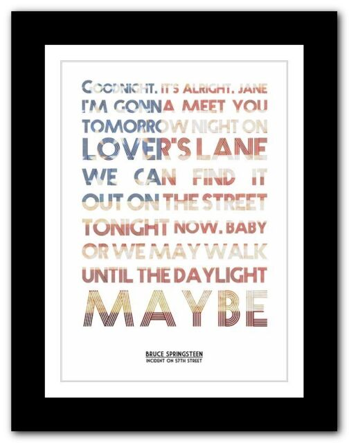 ❤ BRUCE SPRINGSTEEN - Incident On 57th Street ❤  poster art print - 4 sizes