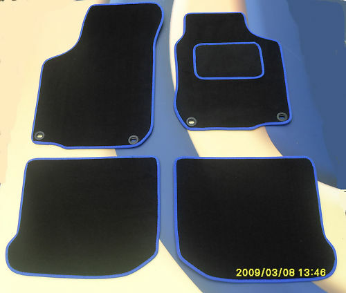 VW Beetle Noir//Bleu Bord Tapis voiture 1999-2004 Ovale Clips B