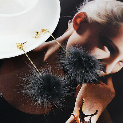 Women Fur Pom Ball Dangle Earrings Crystal Earrings Gold Plated Ear Stud Jewelry