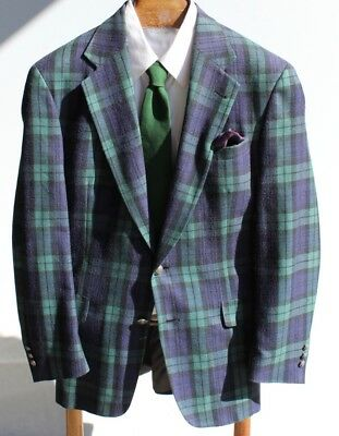Tommy Hilfiger 40L Blue & Green Check Silk Blend Blazer / Jacket - USA - $395.00
