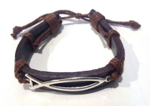 unisex Religious Fish Brown leather /& Brown chord Bracelet