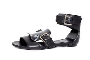 8f677ba3785 Alexander McQueen Women s Black Leather Ankle Strap Sandal 4626 Size ...