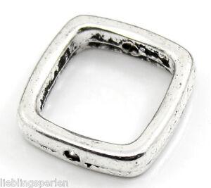 90-Antiksilber-Quadrat-Spacer-Rahmenperlen-fuer-10mm-Perlen-Beads