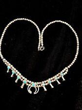 Native American Sterling Silver Mini Squash Blossom Turquoise Necklace Naja 16.5
