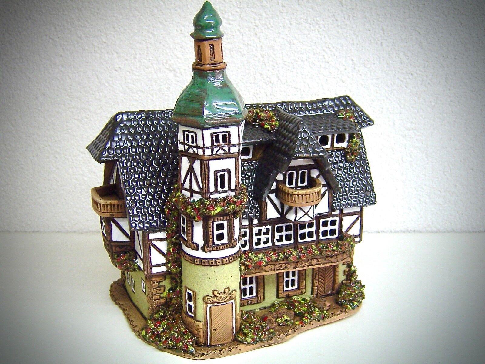 Keramik Teelichthaus Lichterhaus Teelichthalter Fachwerkhaus 21 cm 40516