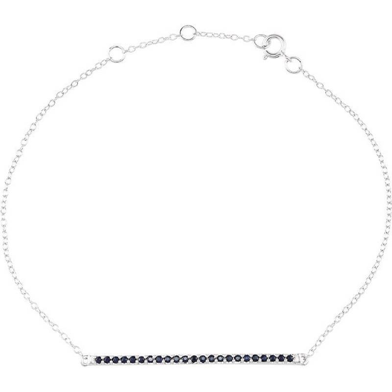bluee Sapphire Bar Chain Bracelet 14k White gold