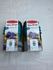 2 Packs Rubbermaid Take Alongs 1.2 Cups Removable Tray 3 Ct Lid Tray Container