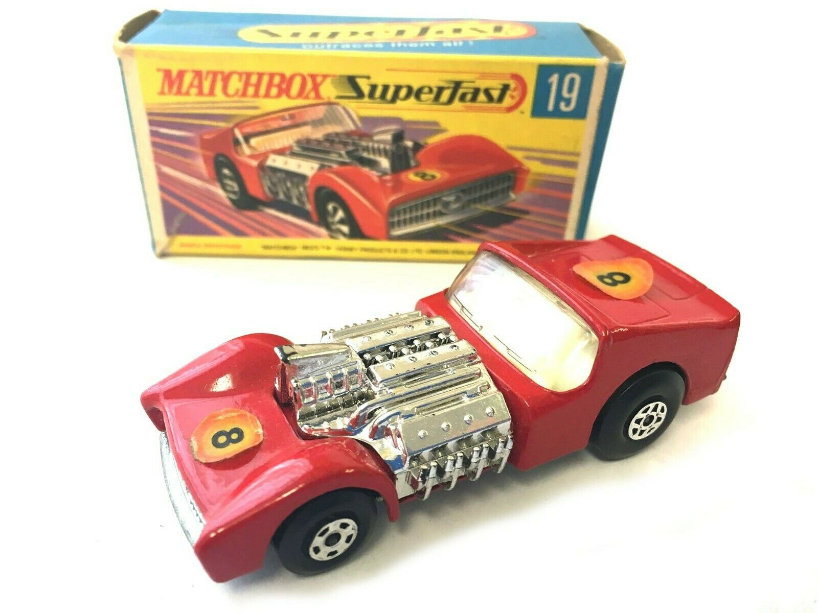 Matchbox Superfast 19 Road Dragster rosso Vintage En Caja Original