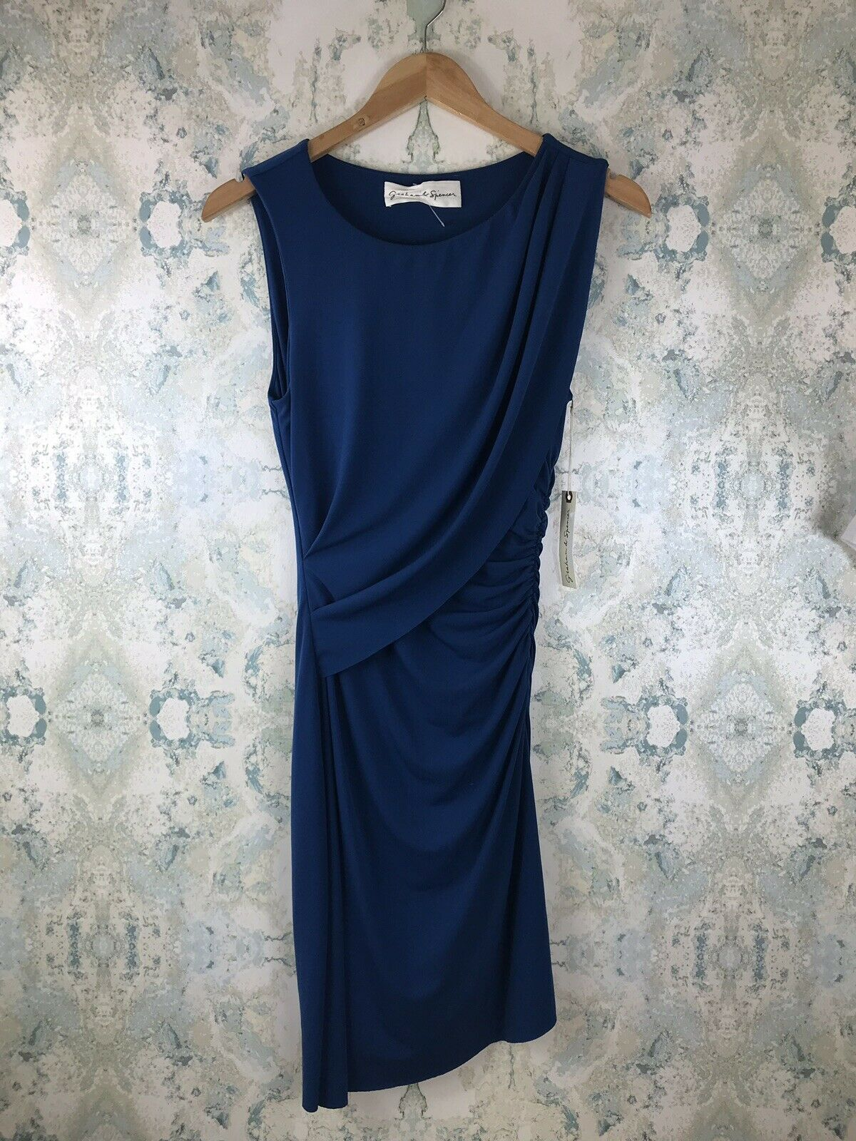 NWT Graham & Spencer Blau Tank Ruched Stretchy Casual Party Dress S