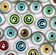 10 Human Eyeball Cabochons Mixed Round Glass Cabochon Flat Back Eye All Sizes UK