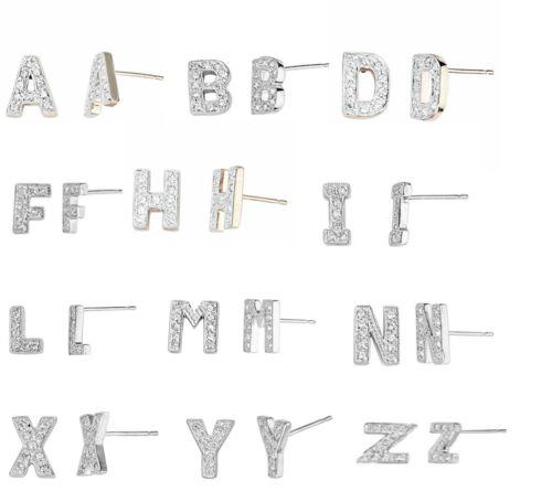 Swaroski Diamante Bling English Alphabet Initial Letter A-Z Ear Studs Earring