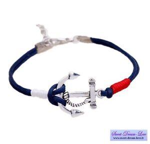 Bracelet,Homme,Femme,Mixte,Ancre,Marine,Argent,Bleu,
