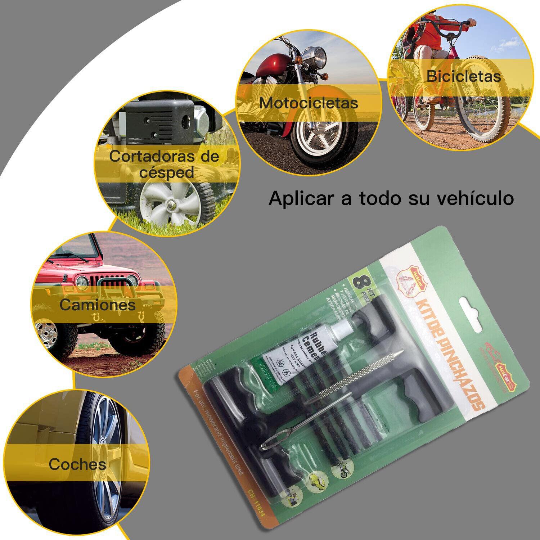 Kit Reparación Pinchazos Emergencia para Neumáticos Moto Coche 10 mechas MOLCAR