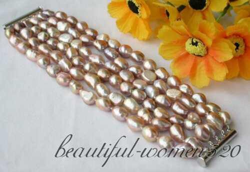 Z2838 naturel 6row 15 mm Baroque Lavender FW Pearl Bracelet Aimant
