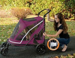 Pet-Gear-NO-ZIP-Expedition-Pet-Stroller-Boysenberry-or-Fog-w-adjustable-handle