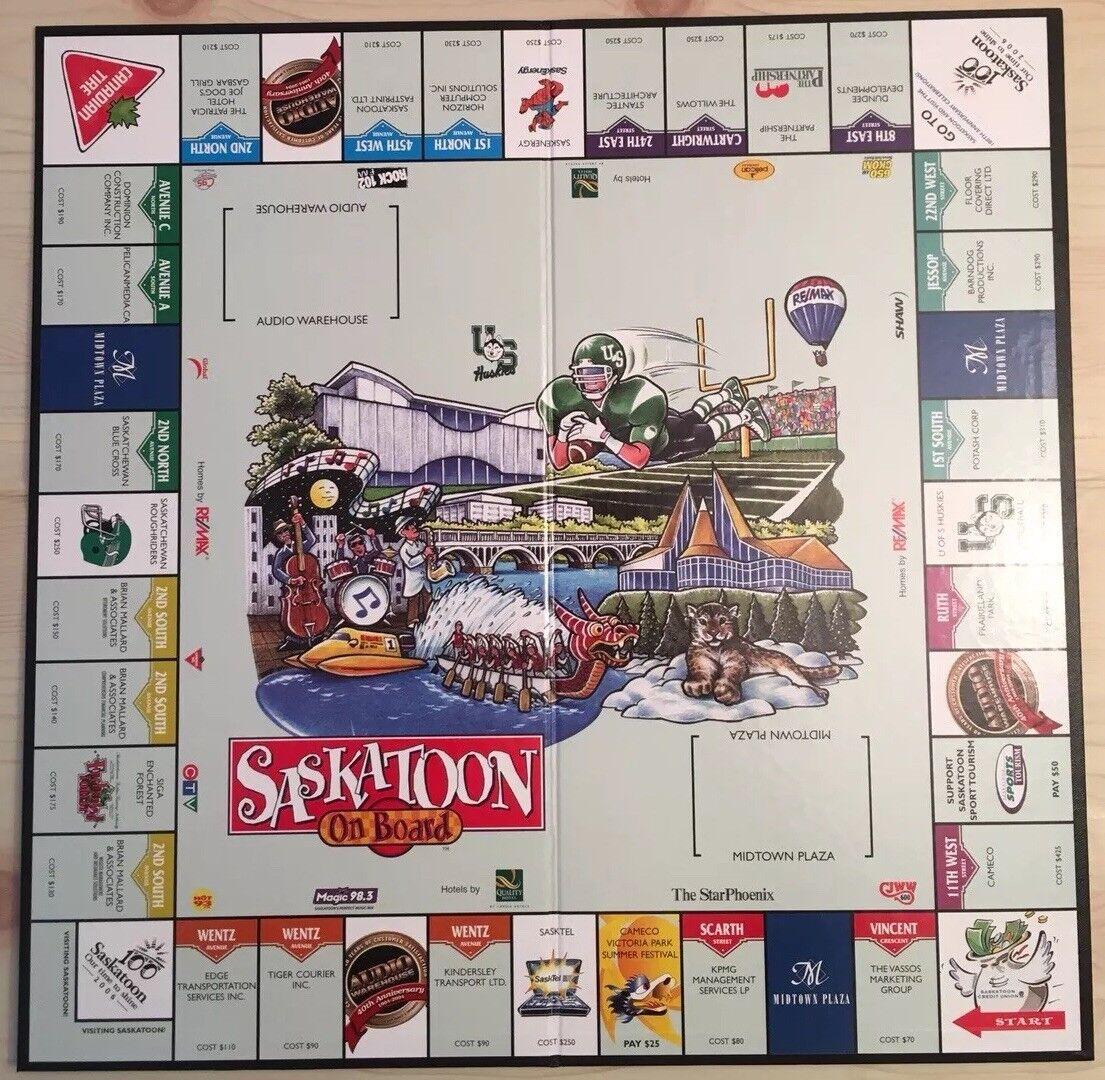Saskatoon à bord RARE RARE RARE Saskatchewan canadien Monopoly Board Game 2004 complet 3c4949