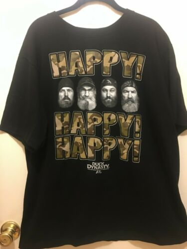 Duck Dynasty Guys Happy Happy Happy Large T-Shirt