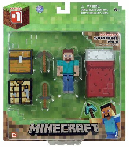 Official MinecraftCore Player One size16450Steve Figure Survival Pack
