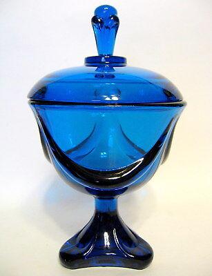 Viking Glass Lidded Candy Dish Bluenique Item No 7108 1971 Three-toed
