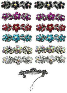 Dozen-Pack-12-Small-Barrettes-Hair-Clips-w-Sparkling-Stones-U86250-1338-D2