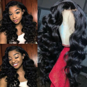 bfc05f7e302 Details about Virgin Indian Human Hair 360 Lace Front Wig Curly Wavy Silk  Top Full Lace Wig