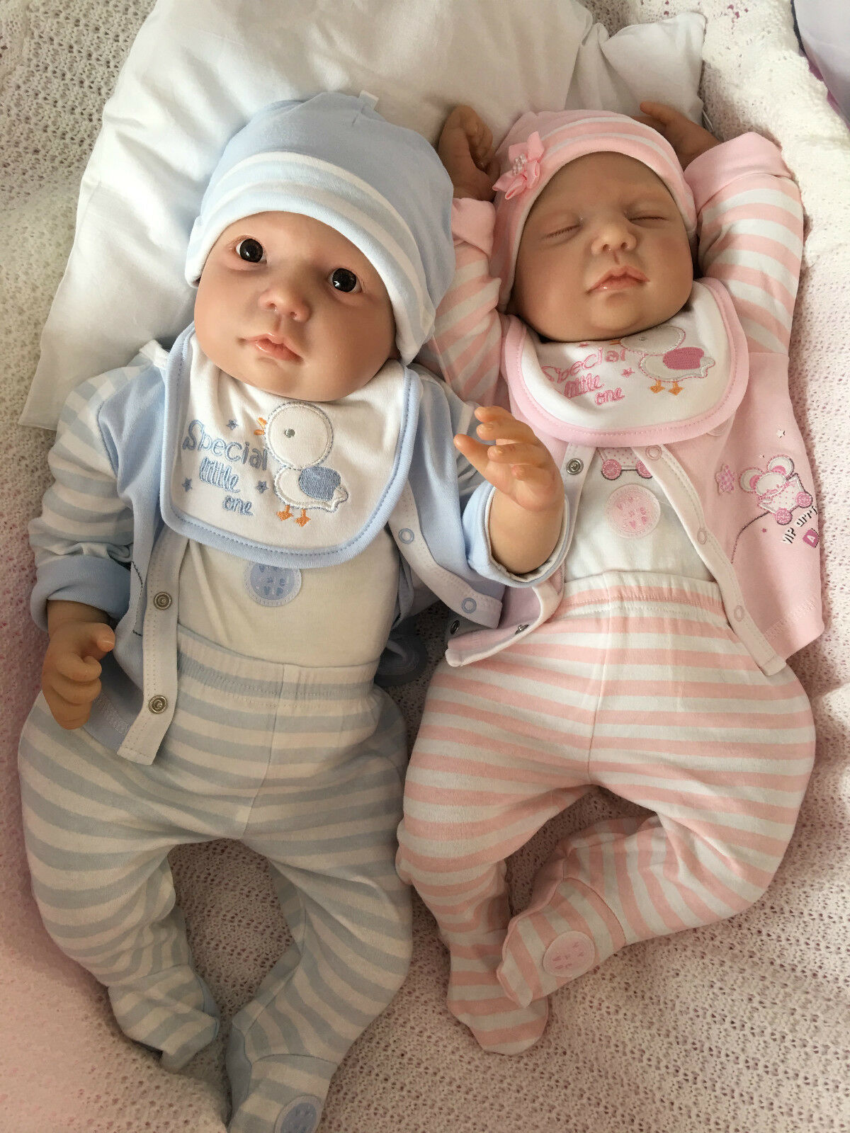 REBORN BABY TWINS 2DOLLS MY FAKE BABIES REALISTIC 22  BIG NEWBORN CHASE & MILEY