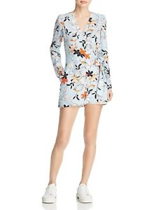 New $310 Parker Womens Blue Silk Floral V-Neck Long-Sleeve Casual Romper Size 2