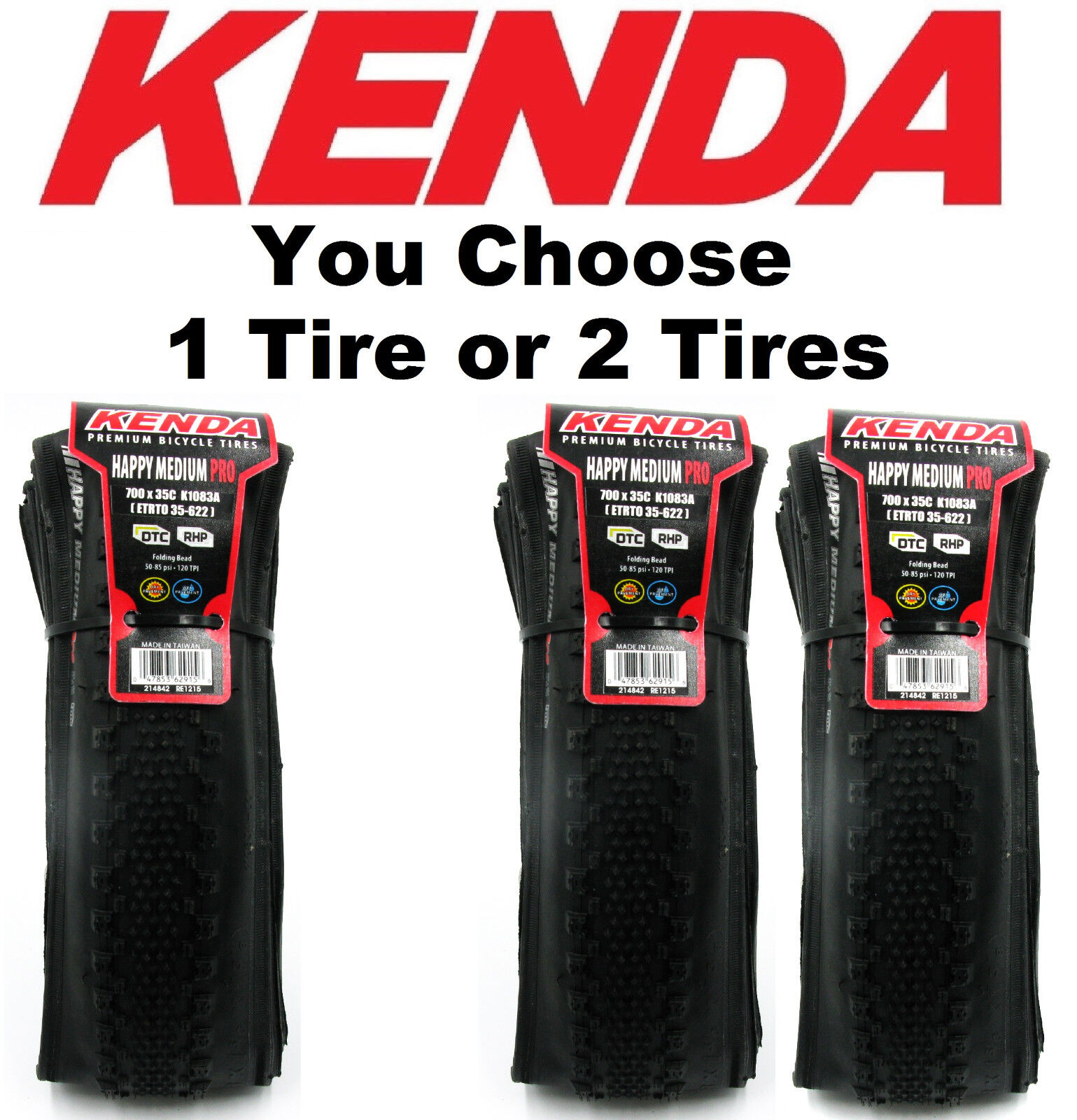 1 or 2Pak Kenda K1083A Happy Medium PRO DTC RHP 700x35 Folding Tire Cyclocross