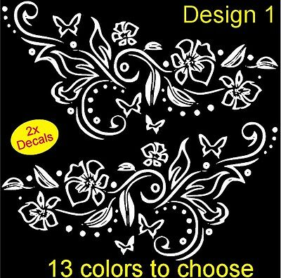 2 x Flower/Butterfly Vinyl Stickers decals,car,window,van (13 colors to choose)