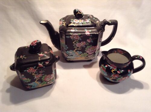 Mason's Black Chinese Ironstone Tea Pot Sugar Bowl & Creamer over 100 years old.