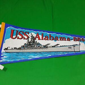 Vintage-USS-Alabama-Souvenir-Pennant-Felt-Flag-US-Navy-Battleship-BB-60-Mobile
