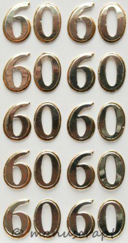 Artoz artwork 3d-sticker números 60 plata oros sombreado