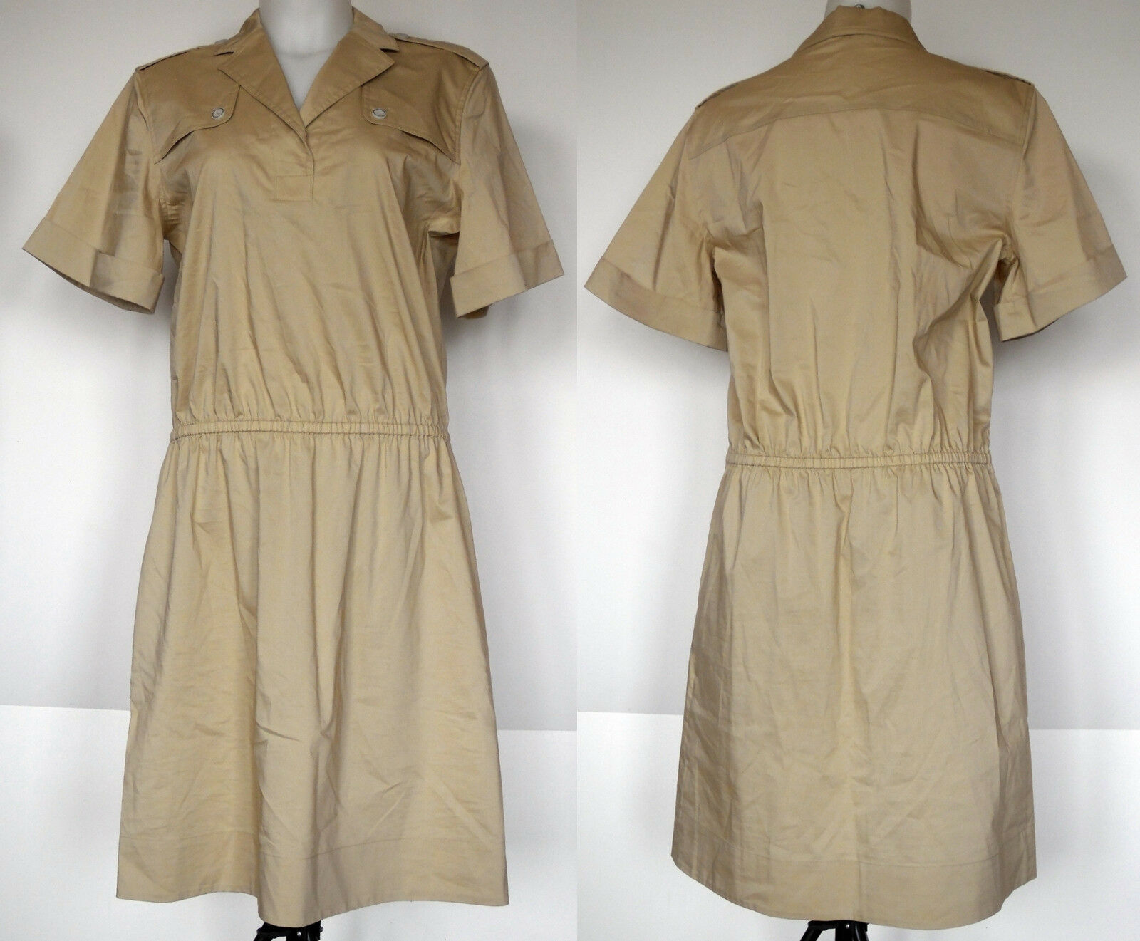 Brooks Brothers Tan Stretch Cotton Sateen Trench Inspirot S S Shirt Dress 10