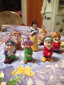 Vintage Disney Japan Snow White & The Seven Dwarfs Ceramic Ornaments No Happy