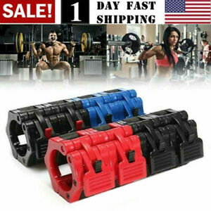Olympic Barbell Clamp Dumbbell Weightlifting Spin Lock Weights Bars Collar Red