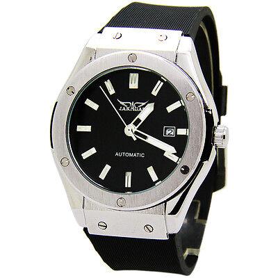 JARAGAR Luxury Calendar Black Rubber Band Automatic Mechanical Men Sport Watch