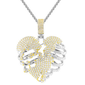 Dripping Love Heart Shape Two Tone Gold Finish Bling Rapper Pendant Necklace