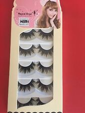 New Natural Long Black Handmade 5 Pairs Thick Makeup Fake Eyelashes False Lashes