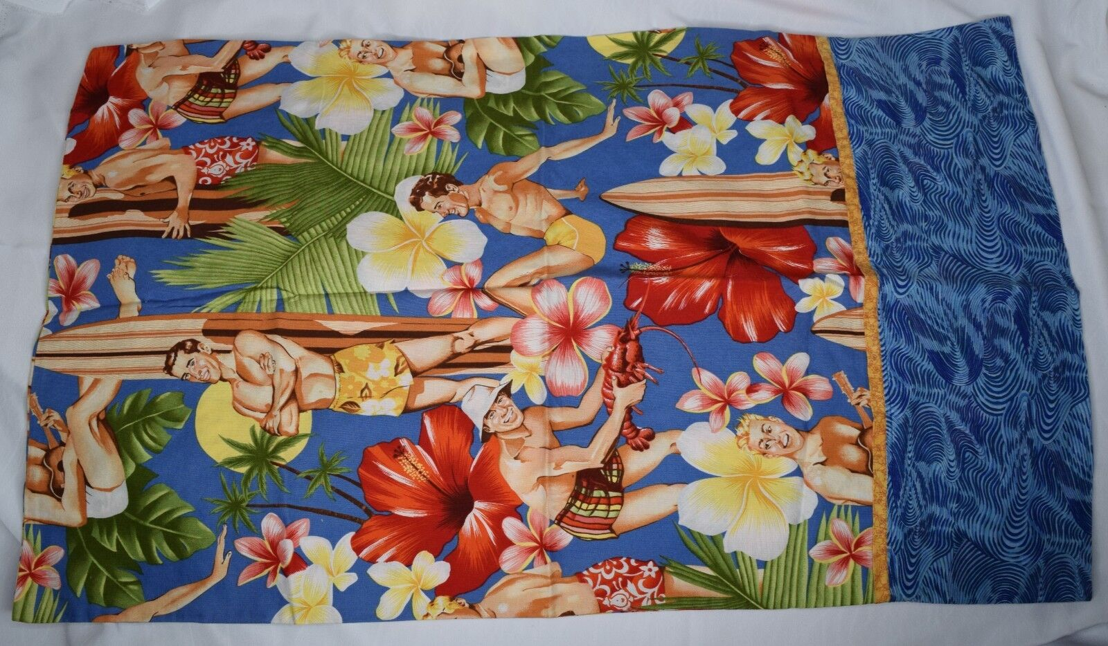 Gay Pin Up Beach Boys Pillowcase Alexander Henry Hawaiian Surf Tropical Island