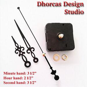 07-Quartz-Clock-Movement-kit-1-4-034-threaded-quiet-motor-and-3-5-034-Black-hand