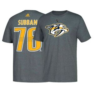best cheap e961b 1b7ec Details about P. K. Subban NHL Nashville Predators Adidas Name & Number  Jersey Grey T-Shirt