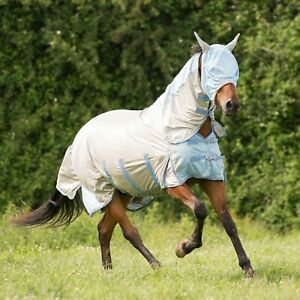 Gallop-Silver-Blue-All-In-1-Horse-Pony-Fly-Rug-with-Neck-Free-Mask-5-Disc-on-2