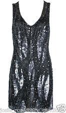 Fashion Union UK 12 Sequin Beaded Art Deco Flapper Dress 1920s Embellished New